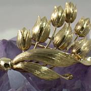 Estate Tiffany 14K Gold Tulip Brooch