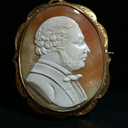 18K Gold and Shell Cameo of a Distinguished 19th C Gentleman