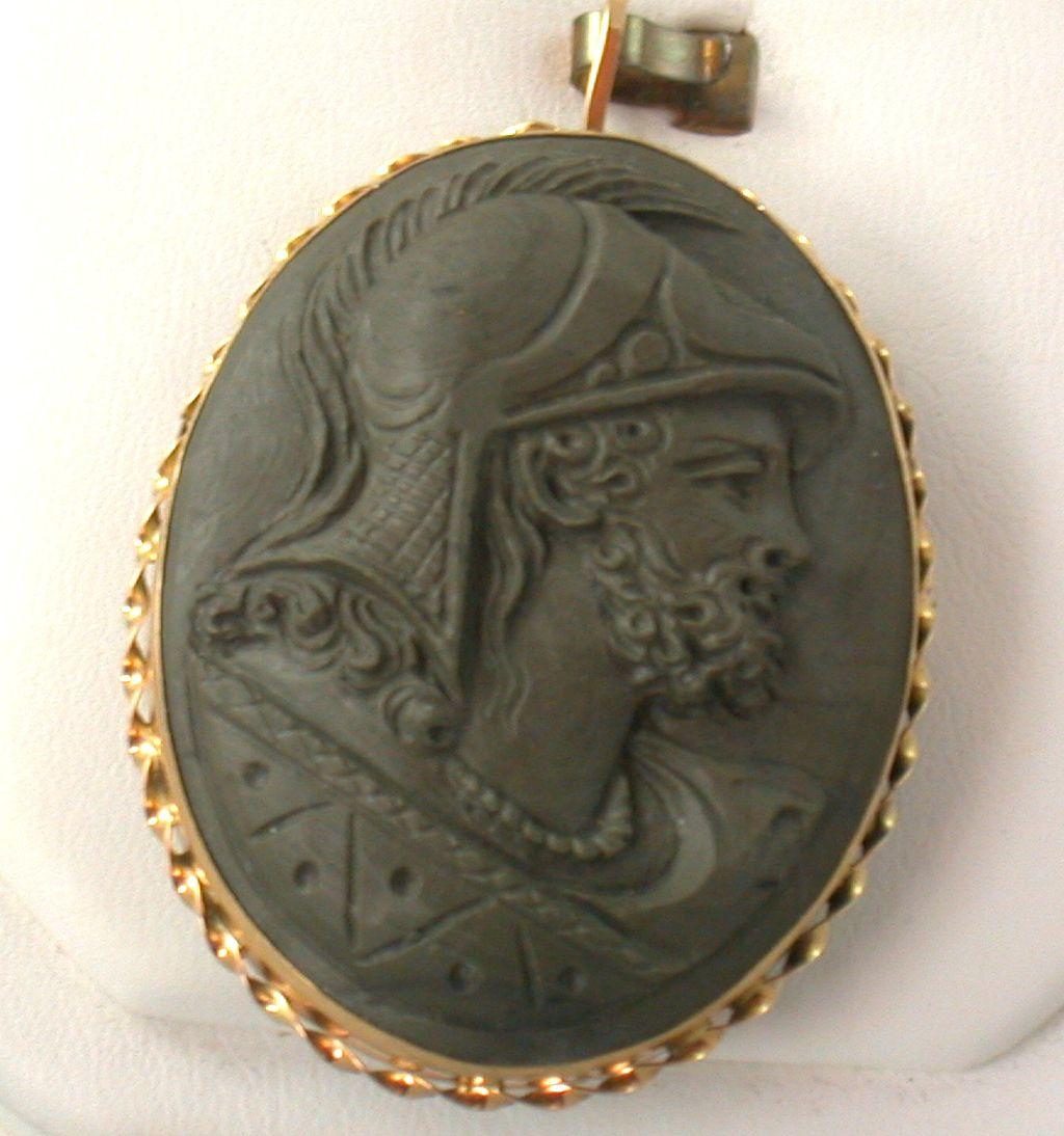 Estate 18K Lava Cameo of Roman Soldier