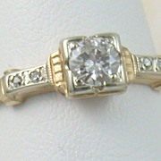 14K Deco 0.30 CT Diamond Ring