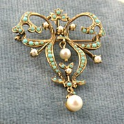 14K Turquoise Pearl Lavalier