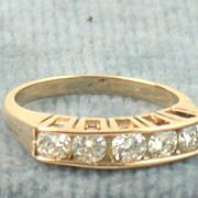 14K Five Diamond Pink Gold Ring 0.70 CT