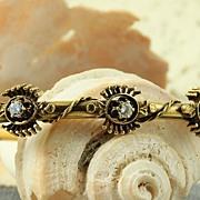 14K  Etruscan Revival 0.42 CT TW Diamond Bangle Bracelet