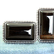 Sterling R.E.  Babcock Tiger Eye Cuff Links