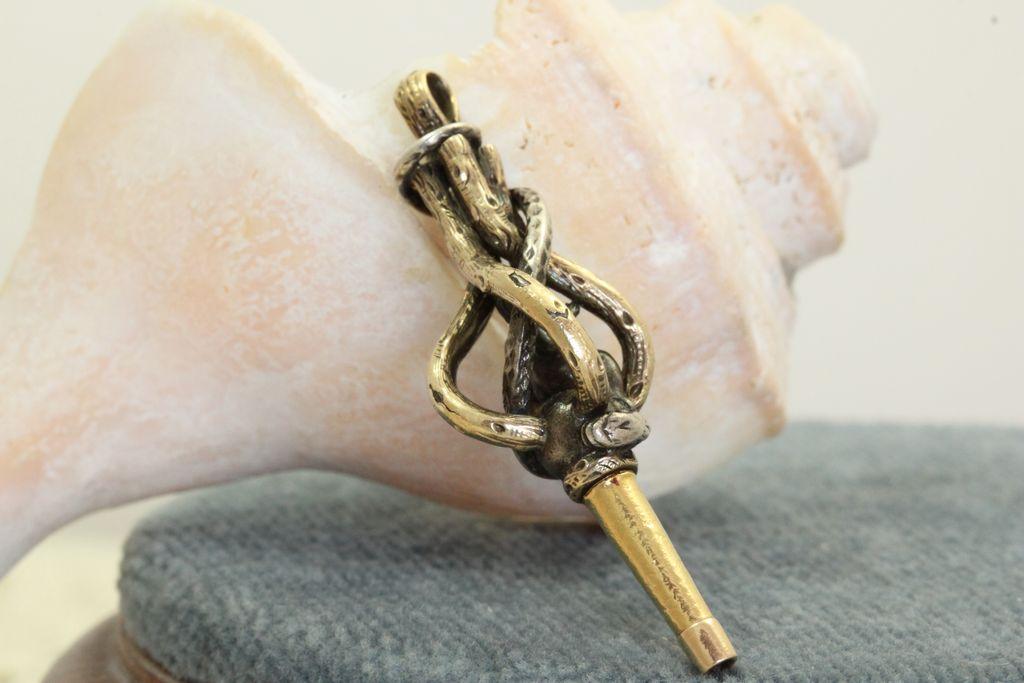 Vintage 18K and Brass Watch Key
