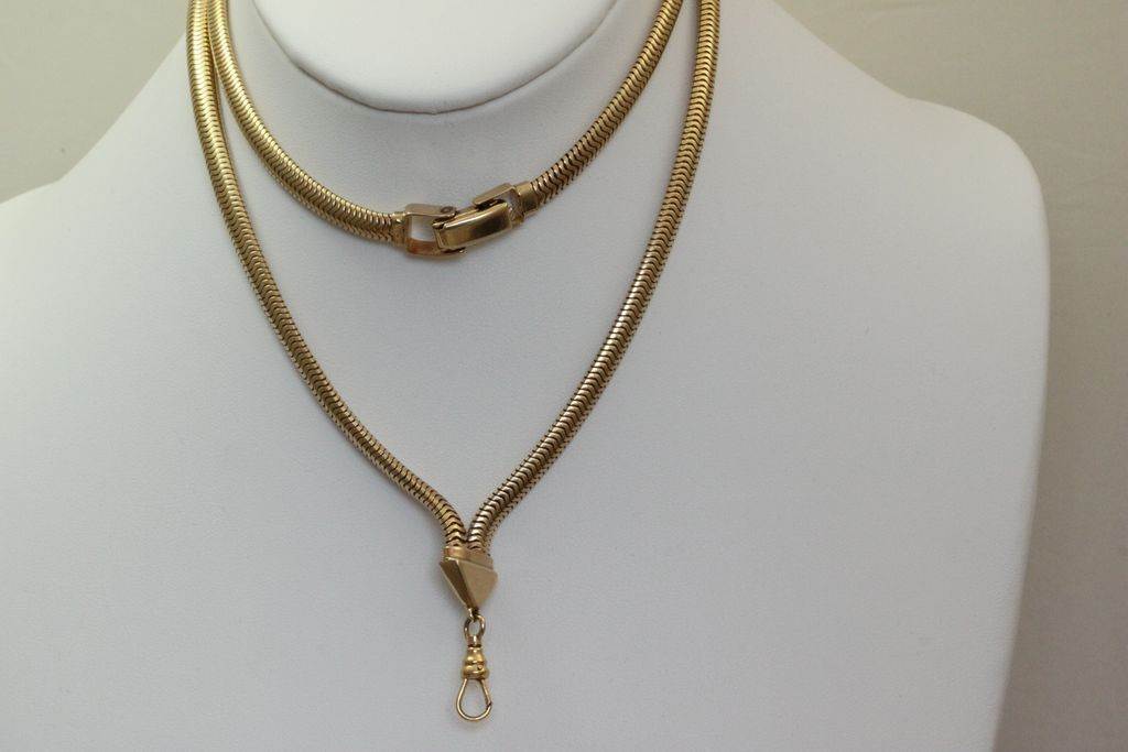 Estate 14K Snake Chain Watch Necklace