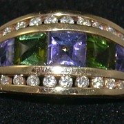 Kabana 14K Amethyst Peridot and Diamond Ring