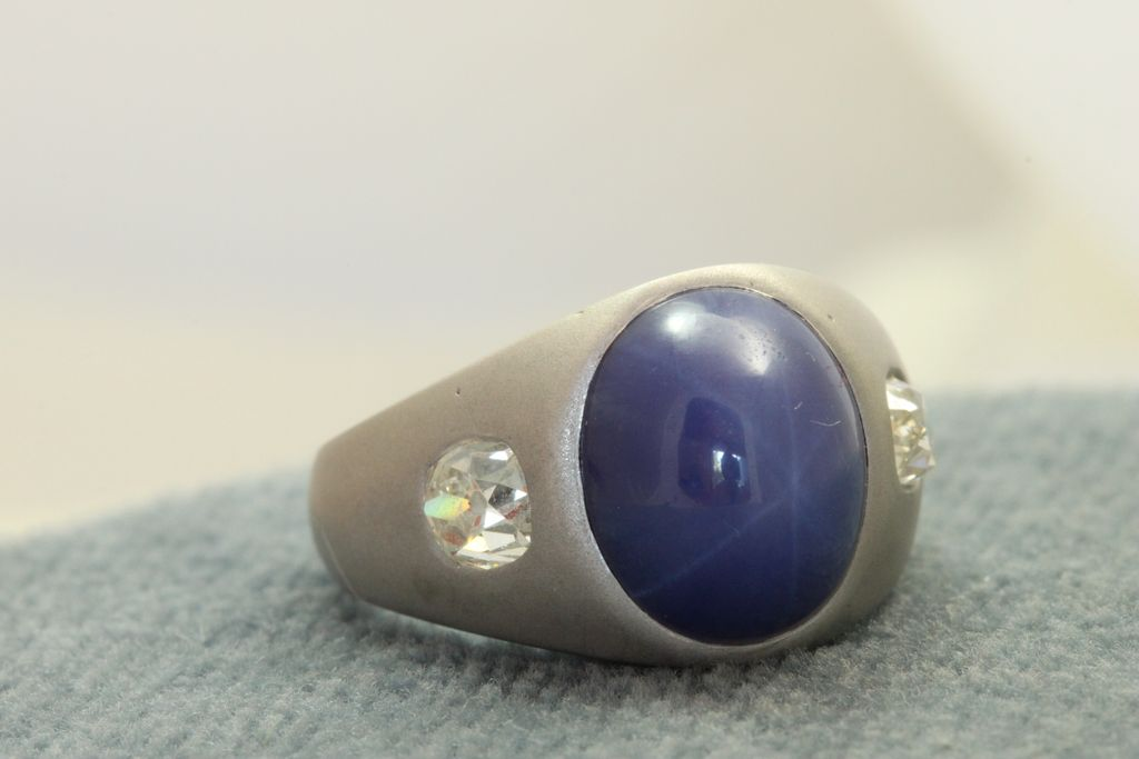 Estate 14KW Star Sapphire and Diamond Ring