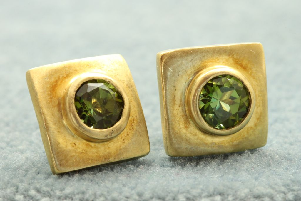 Estate 18K 1 CT Tourmaline Earrings