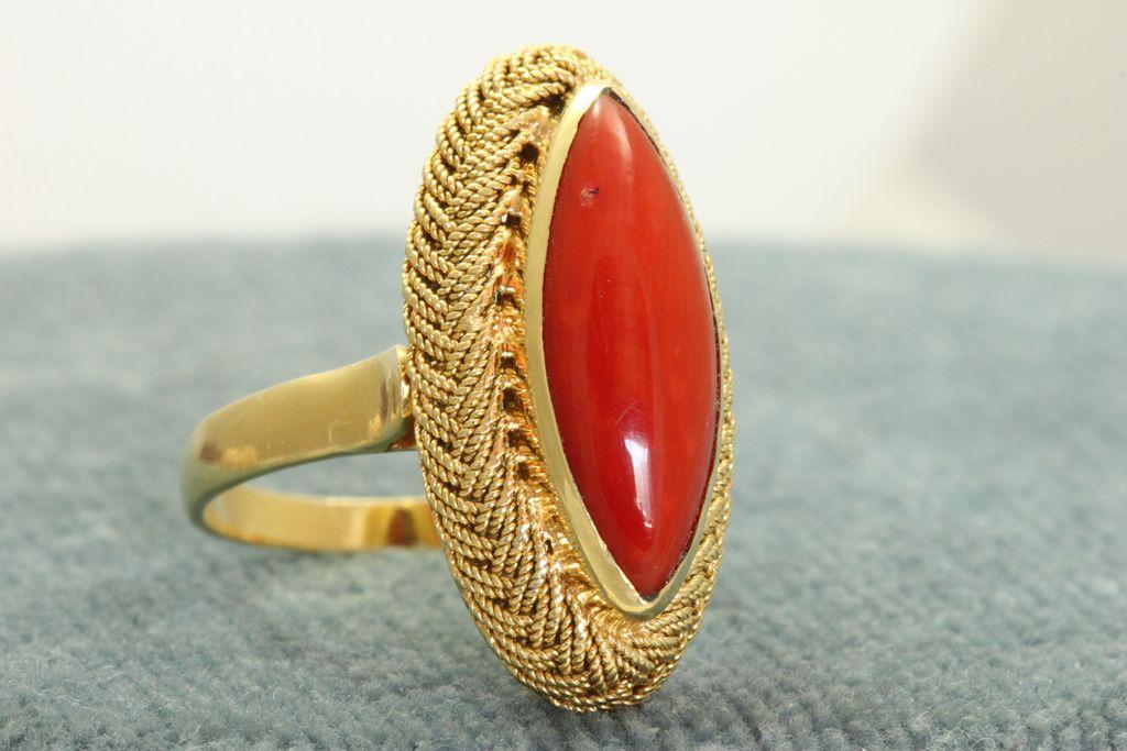 Estate 18K Coral Lozenge Ring