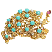 Estate 18K Diamond Turquoise Ruby Brooch