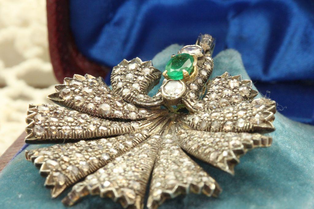 1880 Emerald Diamond Sterling Gold Pendant