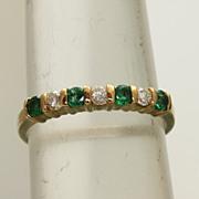 Estate 14K 0.70 CT Emerald and Diamond Band