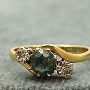 Estate English 18 K Blue Zircon and Diamond Ring