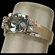 Estate 18 K White Gold 2.35 CT Blue Zircon and Diamond Ring
