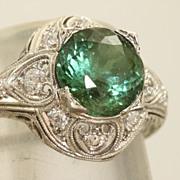 Platinum 2.3 CT Tourmaline and Diamond Filigree Ring
