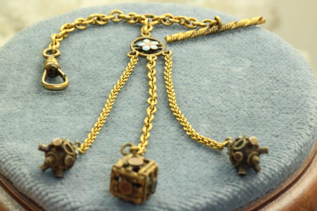 Estate 10 K Enameled Watch Chain