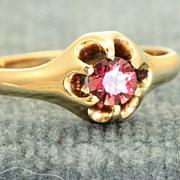 14 K Estate Belcher Raspberry Tourmaline Ring