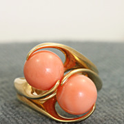 Estate 1960's 14 K Double Coral Ring
