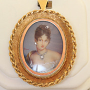 18 K Estate 1960's Italian Hand Painted Portrait Pin/Pendant