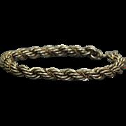 Estate Sterling/18 K Twisted Rope Bracelet