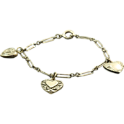 Sterling Vintage Puffy Heart Bracelet