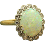 Estate 18 K/Platinum 3 CT Opal and Diamond Ring