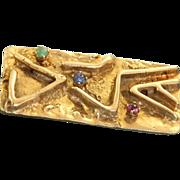 Estate 14 K Mid Century Modern Ruby Emerald Sapphire Brooch/Pendant