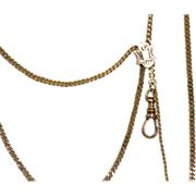"""1916 14 K  60"""" Curb Link Watch Chain and Slide"""