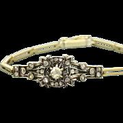 Early French 14 K/Sterling Silver Rose Cut Diamond Bracelet