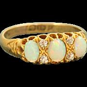 SALE 18 K 1902 Triple Opal and Diamond Ring