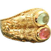 Estate 14 K Double Tourmaline Kabana Etruscan Ring