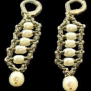 Estate Sterling Pearl Dangle Earrings
