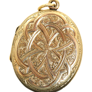 Late 19th Century 10 K Oval Chased Locket