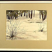 Nice Winter Scene Watercolor Painting Signed Bill Steeves