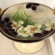 Antique Compote With Makers Mark Hand Painted and Signed