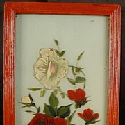 Vintage Oil On Glass of Roses