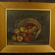 Antique Oil On Canvas Still Life Painting of Apples In A Hat Framed