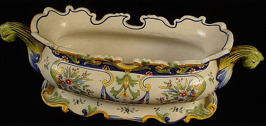 Antique Desvres France Fourmaintraux-Courquin Hand Painted Faience Jardiniere