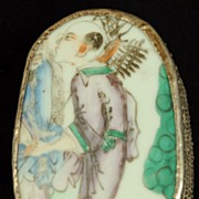 Silverplate Trinket Box With Hand Painted Porcelain Cover