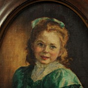 Vintage Portrait Painting of a Young Girl in an Art Deco Frame