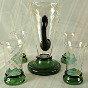 Vintage Iridescent Pitcher With  4 Matching Glasses -Unusual Design