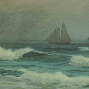 Outstanding Large Watercolor Seascape Sailing Ships off the Shore