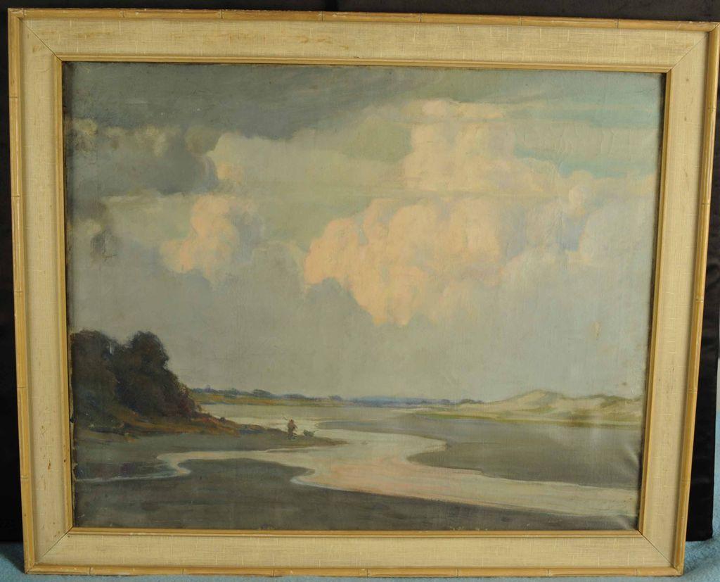 Vintage Impressionist Oil on Canvas Seashore Painting Lynn Marsh