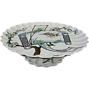 Aesthetic Transferware Footed Cake Plate / Compote 1879  ~ Birds