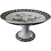 Victorian Aesthetic Movement Green Transferware Compote ~ London 1882