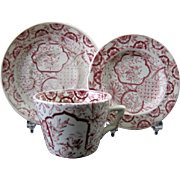 English Victorian Transferware Child's Cup & Saucer and Plate Set 1870s