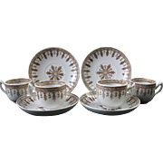 Set/4 English Victorian Brown Transferware Child's Cups & Saucers 1880