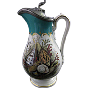English Victorian Prattware Pitcher with Pewter Lid ~ Seashells & Coral ~ ca.1860