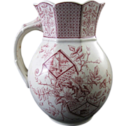 Victorian Aesthetic Red Transferware Pitcher - 1886